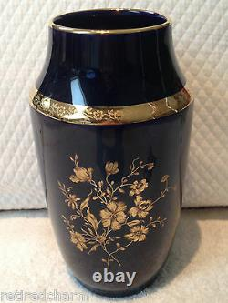 Limoges Castel 22 K Trim Cobalt Blue Vase Made In France Floral 7.5 Antique