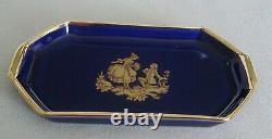 Limoges Fm Miniature Cobalt Blue And Gold Coffee Or Tea 10 Pieces Set