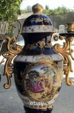 Limoges Porcelain Lidded Vase Cobalt Blue 24k Gilt Gold With Handel