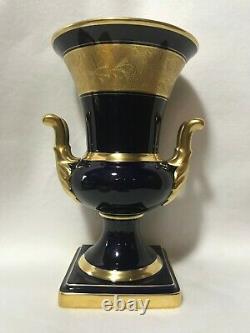 Lindner Kueps Echt Cobalt Blue German Bavaria Porcelain Vase-Urn-Gold Trim-Pair