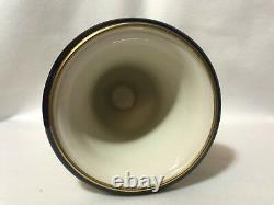 Lindner Kueps Echt Cobalt Blue German Bavaria Porcelain Vase-Urns Gold Trim-Pair