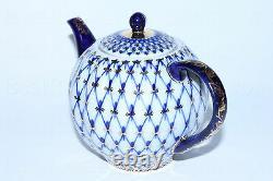 Lomonosov Imperial PORZELLAN Teekanne Cobalt Net / Blues KOBALTNETZ Goldstück