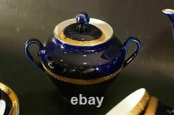 Lomonosov Russian Imperial Porcelain China Tea set Cobalt With 22k Gold