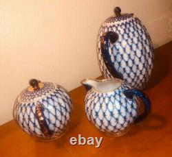 Lomonosov Vintage Russian Imperial Porcelain Cobalt Blue 22kt Gold Teapot Set