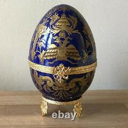 Lovely Faberge Cobalt Blue & Gold Limoges Imperial Czarevich Egg