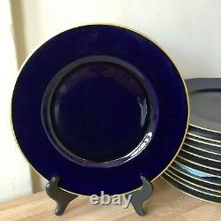 Lovely Set of 12 Hutschenreuther Cobalt Blue and Gold Service Plates
