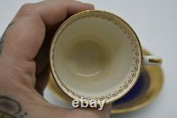 MInton Cobalt Blue Gold Encrusted Demitasse Cup & Saucer H1111
