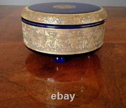 MOSER Cobalt Blue Lidded Glass withGold Warrior Scene Frieze, early 1900's Perfect