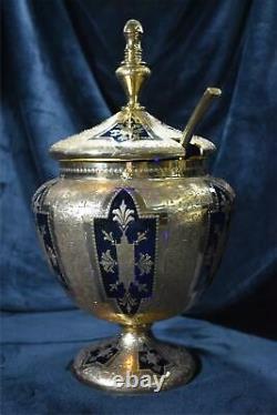MOSER Punch Bowl Set Gold Decorated Cobalt Blue Glass1880s RARE