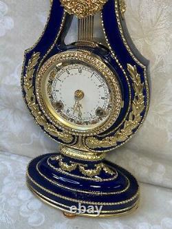 Marie Antoinette Clock Franklin Mint Cobalt Blue with Faux Diamonds Runs/Strikes