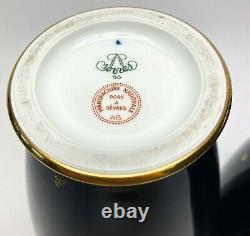 Matching Pair Manufacture de Sevres Cobalt & Gold Vases 1968