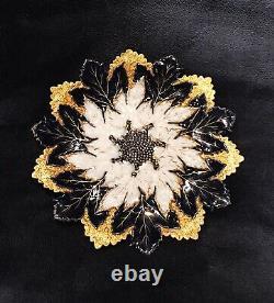 Meissen Antique 19 Century Maple Leaf Gold and Cobalt Blue Plate