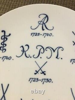Meissen Antique Rococo Cobalt Blue and Gold Porcelain Cabinet Plate