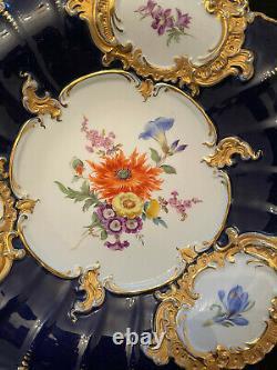 Meissen Cobalt Blue & Gold Floral Cabinet Plate Charger