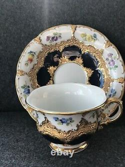 Meissen Gold Encrusted Cobalt Blue Handpainted Flower Mini Teacup /Demitasse Cup