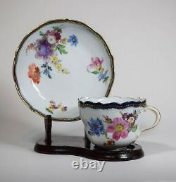 Meissen Hand Painted Cup & Saucer Cobalt and Gold