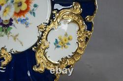 Meissen Hand Painted Floral Cobalt & Gold Rococo Style Charger / Service Plate