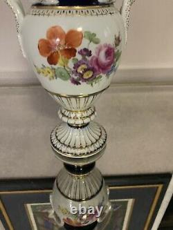 Meissen Hand Painted Porcelain Entwined Snake Handle Large Vase Urn Colbalt Blue