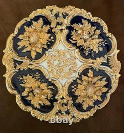 Meissen Heavy Gilded Cobalt Porcelain Cabinet Charger