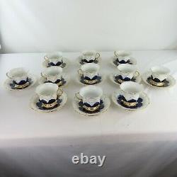 Meissen Porcelain Cobalt Blue & Gold 12 Tea Cups + 11 Saucers Antique Rare