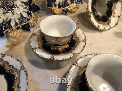 Meissen Porcelain Cobalt Blue & Gold Gilding Maple Leaf Plates Rare C. 1860-1924
