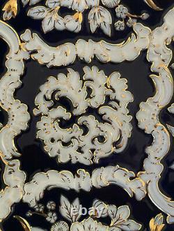 Meissen Porcelain Large Cobalt Blue, White and Gold Deep Cabinet Charger/ Bowl