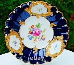 Meissen handpainted gilded large cobalt blue bowl