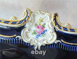 Meissen porcelain Tray Cobalt & gold Rococo Embossed Relief hand painted
