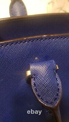 Michael Kors Selma Cobalt Blue Leather Handbag PurseGoldZipperBeautifulClean