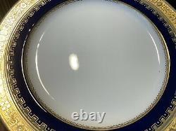 Minton G3950 Salad Luncheon Plates Set of 7 Gold Encrusted Cobalt Blue 9 Dia