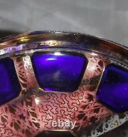 Moser Cobalt Blue Cabochon Panel Candy Bonbon Dish Covered Gold Filigree RARE