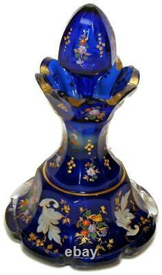 Moser Cobalt Blue Faceted Glass Perfume Bottle All over Gold & Floral Enameling