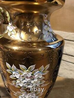 Murano Big Venetian Vase 22K Gold Enamel Flowers Cobalt Blue 16 Inch