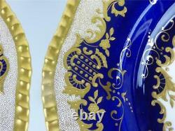 N831 PAIR ANTIQUE COALPORT COBALT BLUE GOLD ENAMEL SOUP BOWLS PAT. 14156 m