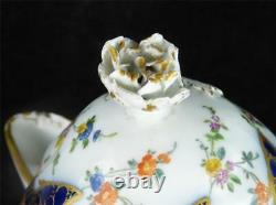 N847 Antique 18th Century Meissen Porcelain Coffee Pot Cobalt Blue & Gold