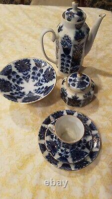 NEW Authentic Russian Lomonosov Blue Field 23pc Tea Coffee Set for 6 Cobalt Gold