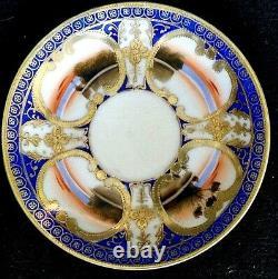 Nippon Antique Hand Painted Cobalt Blue Gold Tea Set 17 Pieces Blue Mark Japan