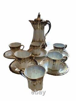 Nippon Handpainted Cobalt Blue/Gold Foil 13 Pc Chocolate/Tea Set 6 Cups/5 Saucer