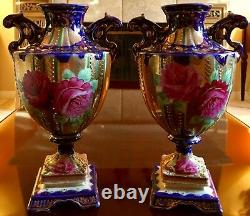 Pair Antique French Sevres-style 11cobalt Blue & Gold Handpaint Porcelain Vases
