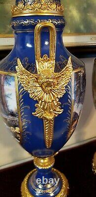 Pair French Sevres Style Porcelain Covered Urns Cobalt blue gold Angel 26 Tall