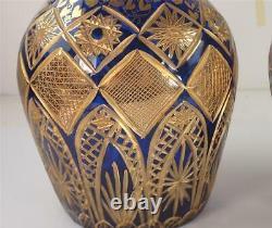 Pair Large Vintage Bohemian Persian Market Glass Cobalt Blue & Gold Decanters