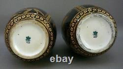 Pair Of Vases, Porcelain, 12.5, Coalport, England Cobalt Blue, Gilded, Birds. 1881