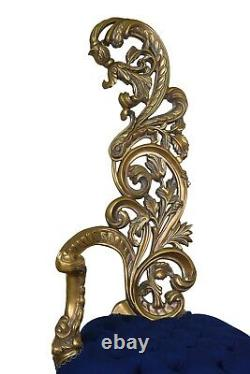 Pair Of Vintage, Gold Leaf, Tufted Cobalt Blue Velvet, Hand Carved, Armchair