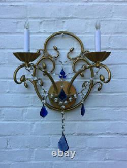 Pair of Italian Wall Sconces Acorns & Cobalt Blue Crystals