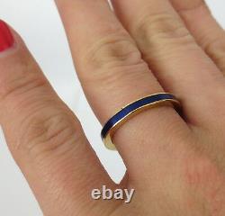 Pair of Vintage Cobalt Blue Enamel & 18k Yellow Gold Bands Size 5.5