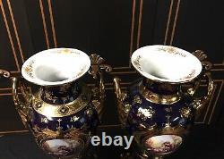 Pair of palace LIMOGES Imperial Italy Porcelain 22kt Gold & Cobalt Blue Vases