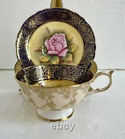 Paragon England Tea Cup & Saucer Floating Pink Cabbage Rose Cobalt Heavy Gold