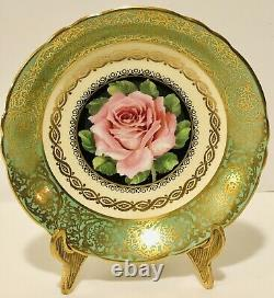 Paragon England Tea Cup & Saucer Floating Pink Cabbage Rose On Green Heavy Gold