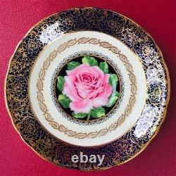 Paragon Gold Gilding Cobalt BlueTeacup & Saucer Floating Pink Cabbage Rose