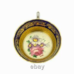 Paragon tea cup saucer set by appointment gold floral cobalt blue porcelain